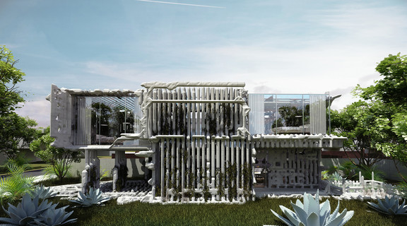 Image of a futuristic house set amid lush gardens created by machine learning
