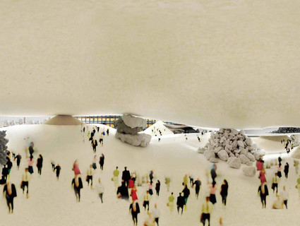 Model of the street view from underneath a tent-like pavillion in Miami
