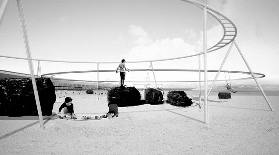 Black and white image of children playing in a playground structure on a beach