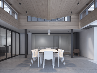 Rendering of an interior courtyard with white table and chairs in the middle