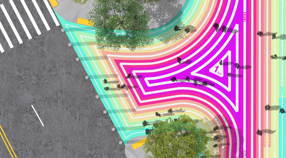 A proposal for the NYC DOT's Asphalt Art Activation project in the Bronx, 1KM is a colorful 1000 meter spiral that encourages students of PS 69 and its neighboring community to go for a stroll.