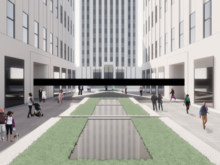 Rendering of a large black Sound Bar elevated above people walking through a courtyard with pools in various levels in Rockefeller Center.