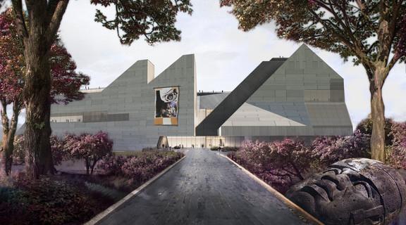 Rendering of a museum design in Korea