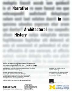 Poster of Narrative in Architectural History, a panel at the Chicago Architecture Biennial
