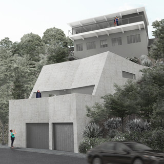 Image of a modernist home set atop a Hollywood hillside.
