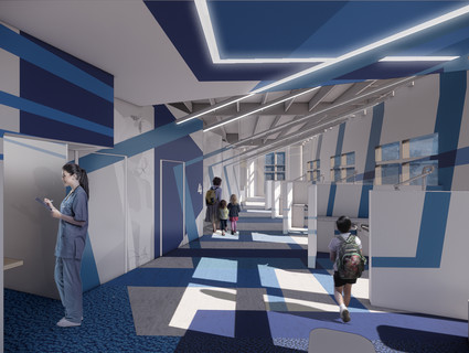 Rendering of a colorful pediatric dental clinic