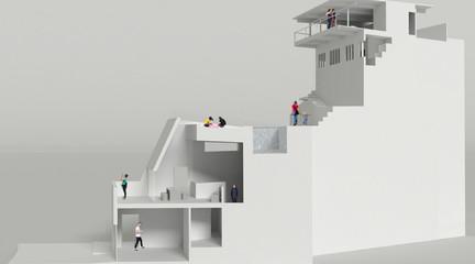 Model of a modernist home set atop a Hollywood hillside.