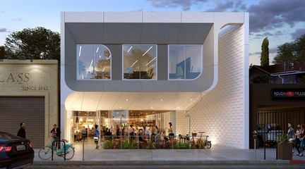 Rendering of exterior of 3921 Sunset Boulevard, a 6,000 sf mixed-use restaurant and office space