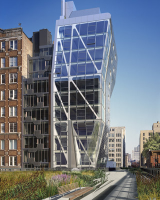 Image of the south facade of HL23, an angular building that is adjacent to New York's High Line