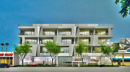 Rendering of exterior of 320 La Cienaga, a 70,000 sf mixed-use residential building.
