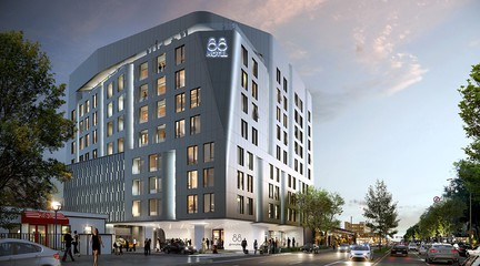 Rendering of exterior of La Brea Hotel, a 70,000 sf, 88-room luxury hotel in West Hollywood, California