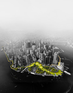 Aerial view of New York city showing the proposed parkland and urban space to prevent damage from rising sea levels.