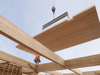 Image of a construction site using wooden beams