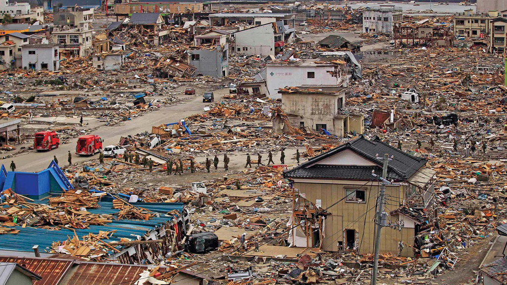 Image of a town after a natural disaster