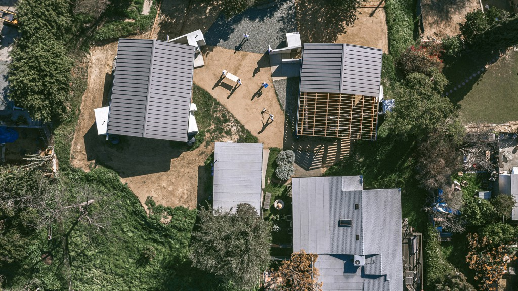 Aerial photograph of completed building - an art studio and residential compound