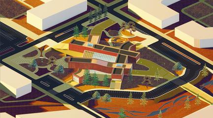 Rendering of an archipelago community hub