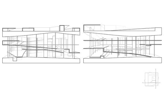 Side by side line drawings of final model