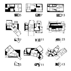 Floor plans in black and white