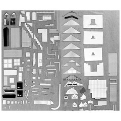Drawing of building components against a grey background