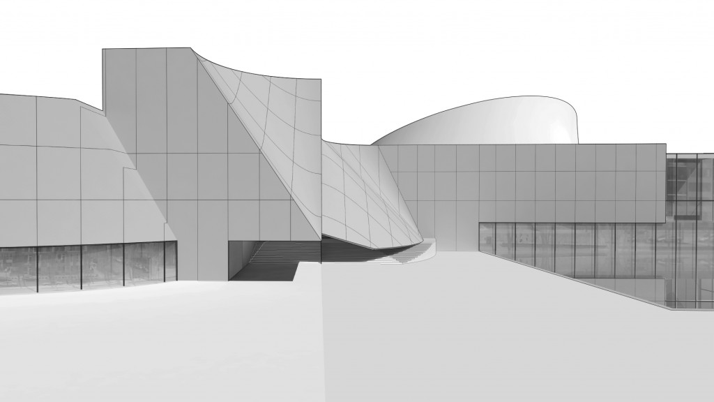 Black and white rendered perpective of building elevation viewed from ground level.