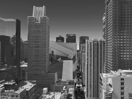 Aerial perspective of building sited in downtown Chicago.