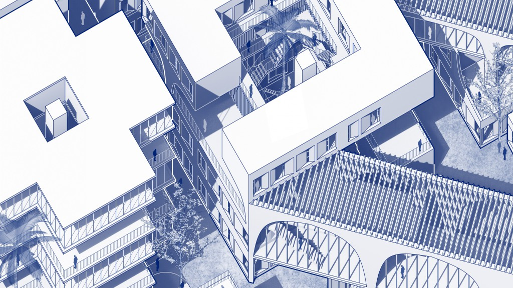 Cropped axonometric drawing a housing development in Los Angeles.