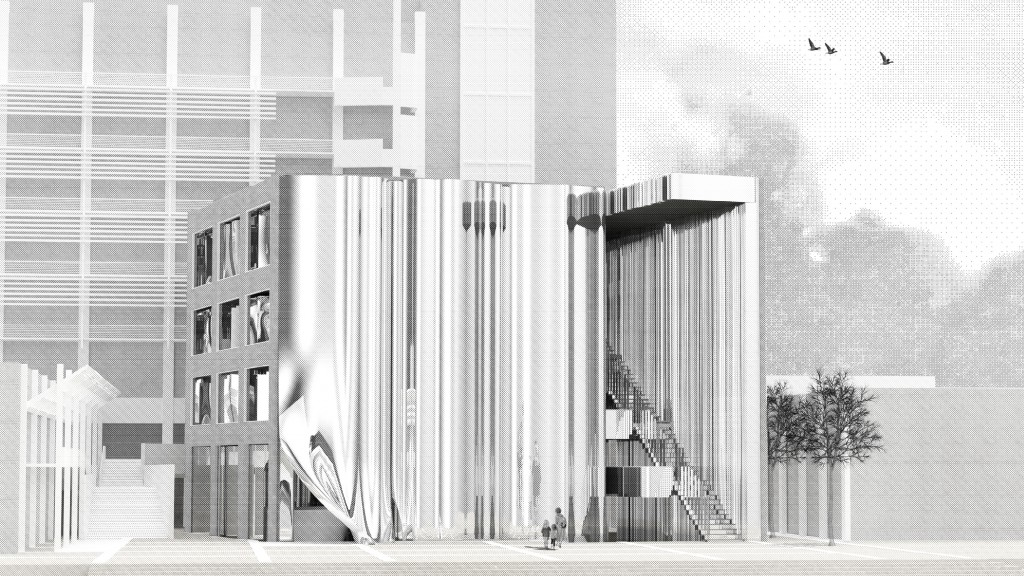 Black and white rendered elevation of building within its context on UCLA's campus.