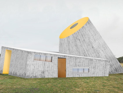 Rendered perspective of building from exterior.