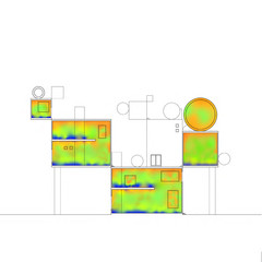 Section drawing with overlaid heat mapping.