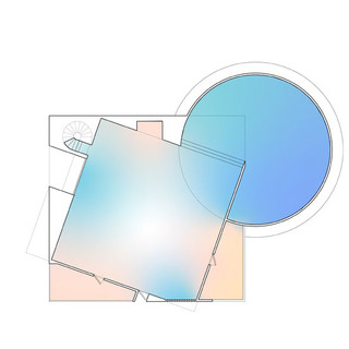 Plan drawing with overlaid heat mapping.