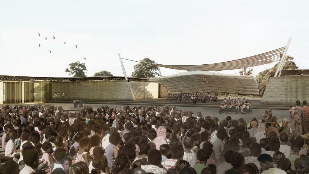 Rendered perspective of bandshell from the viewpoint of the crowd.