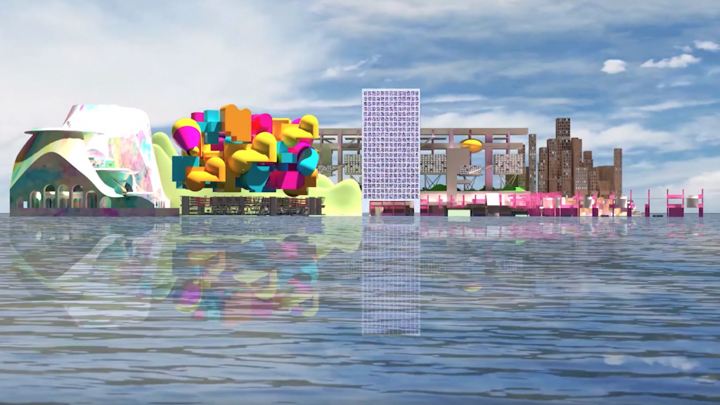 Screenshot from a video of a student video project showing the reimagined island of Tuvalu as a floating mass of hyper stylized structures.