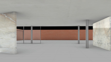 Rendered perspective from interior.