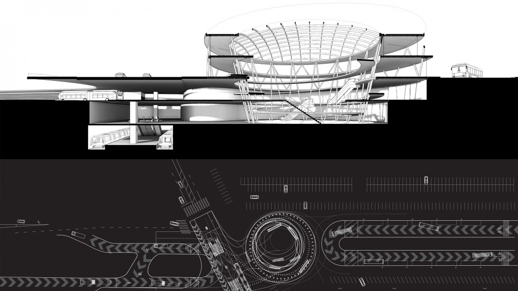 Perspective section view and site plan showing parking lots and cars